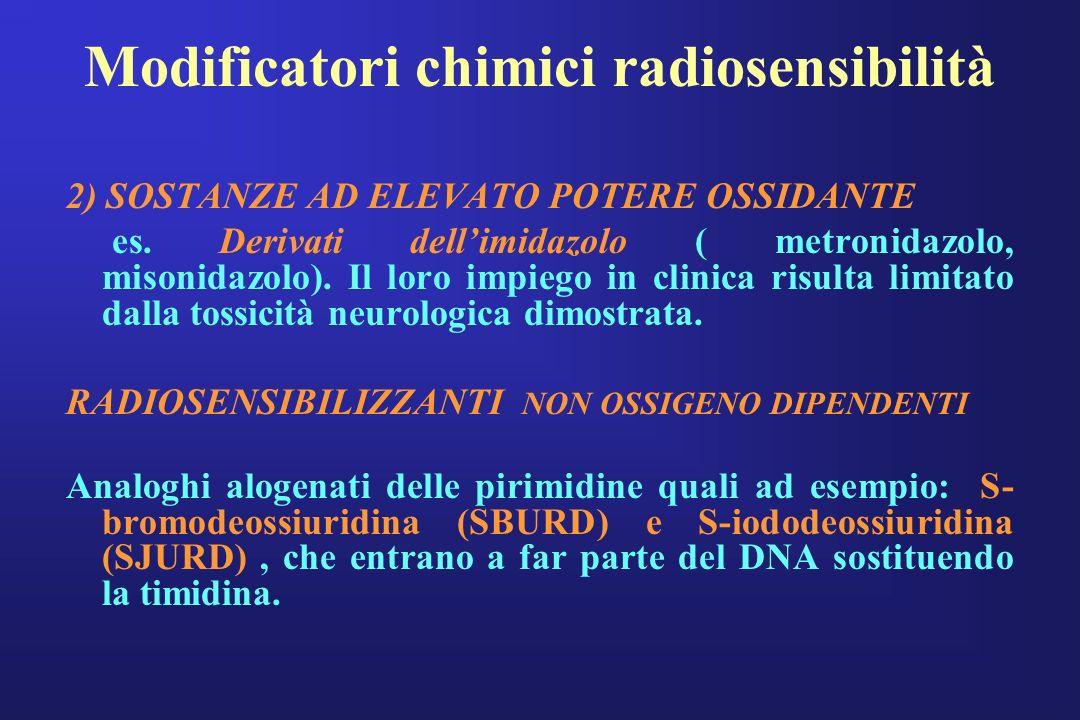 Modificatori chimici radiosensibilità 2) SOSTANZE AD ELEVATO POTERE OSSIDANTE es. Derivati dellimidazolo ( metronidazolo, misonidazolo). Il loro impie
