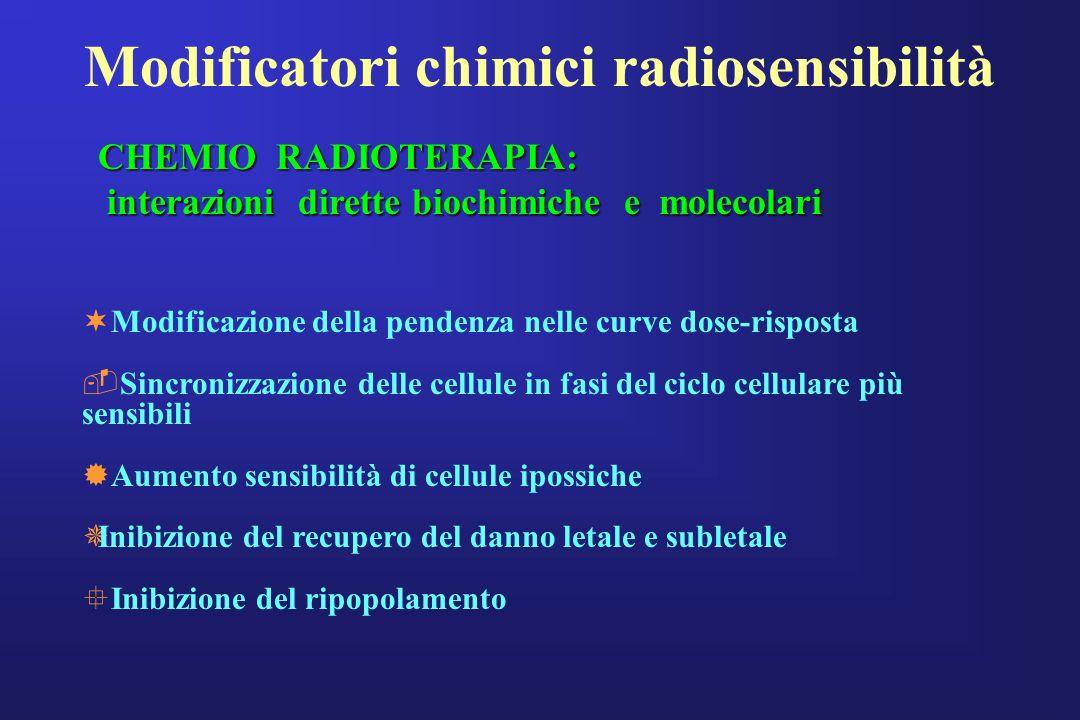 Modificatori chimici radiosensibilità ¬Modificazione della pendenza nelle curve dose-risposta Sincronizzazione delle cellule in fasi del ciclo cellul