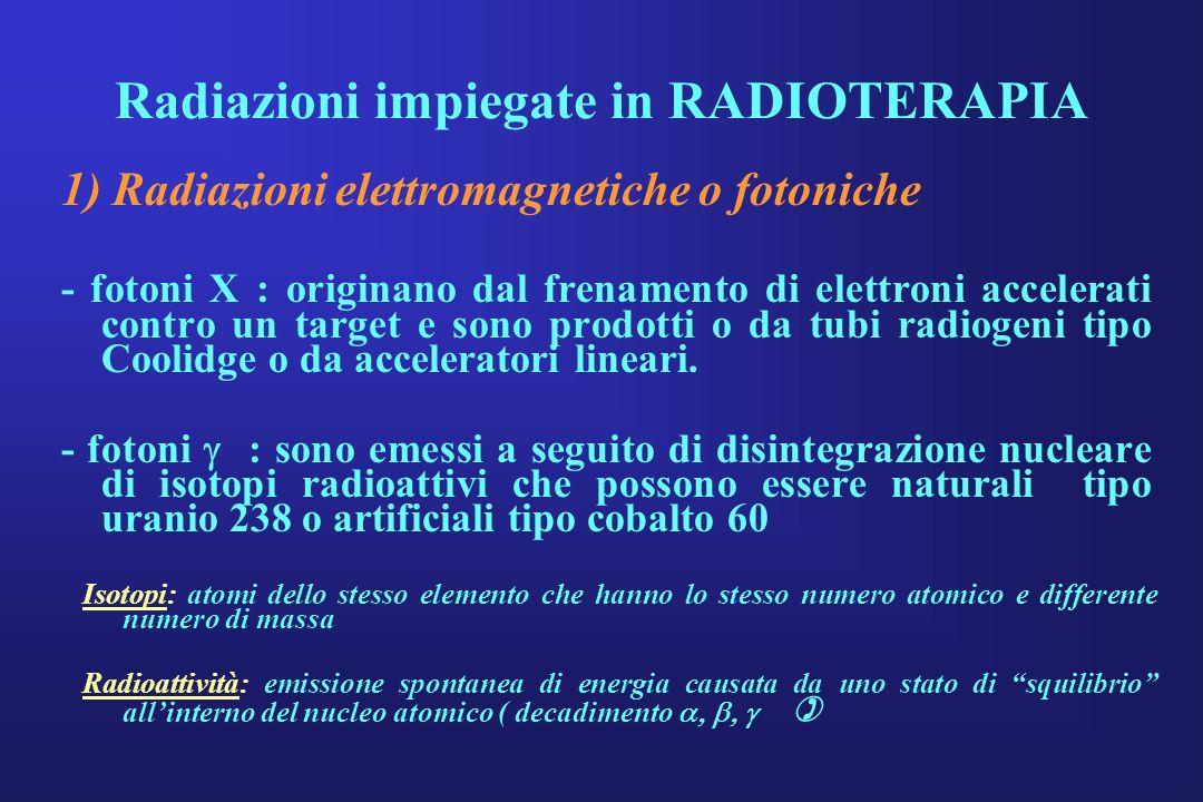 Radiazioni impiegate in RADIOTERAPIA 1) Radiazioni elettromagnetiche o fotoniche - fotoni X : originano dal frenamento di elettroni accelerati contro