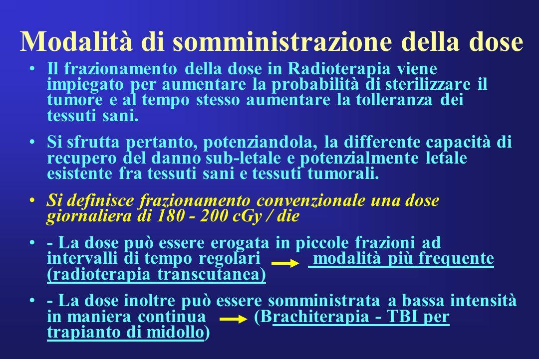Modalità di somministrazione della dose Il frazionamento della dose in Radioterapia viene impiegato per aumentare la probabilità di sterilizzare il tu