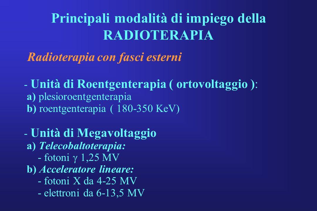 Principali modalità di impiego della RADIOTERAPIA Radioterapia con fasci esterni - Unità di Roentgenterapia ( ortovoltaggio ): a) plesioroentgenterapi
