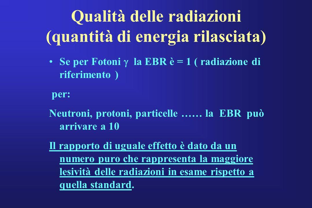 Qualità delle radiazioni (quantità di energia rilasciata) Se per Fotoni la EBR è = 1 ( radiazione di riferimento ) per: Neutroni, protoni, particelle