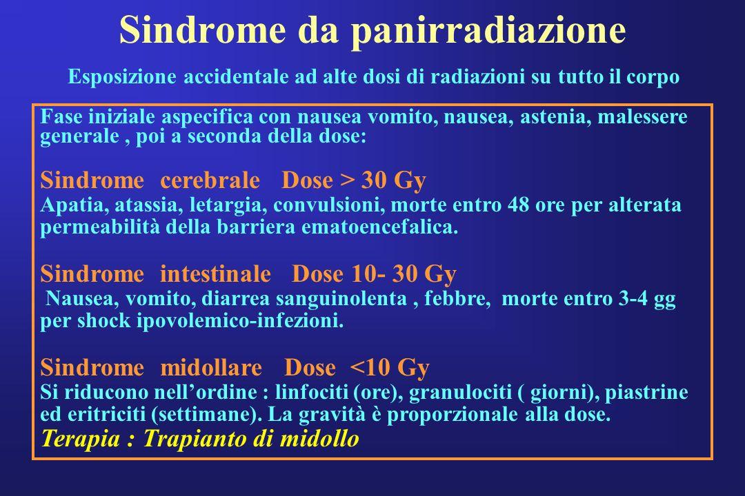 Sindrome da panirradiazione Esposizione accidentale ad alte dosi di radiazioni su tutto il corpo Fase iniziale aspecifica con nausea vomito, nausea, a