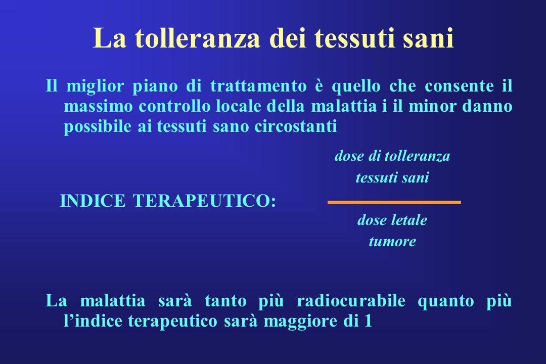 La tolleranza dei tessuti sani Il miglior piano di trattamento è quello che consente il massimo controllo locale della malattia i il minor danno possi