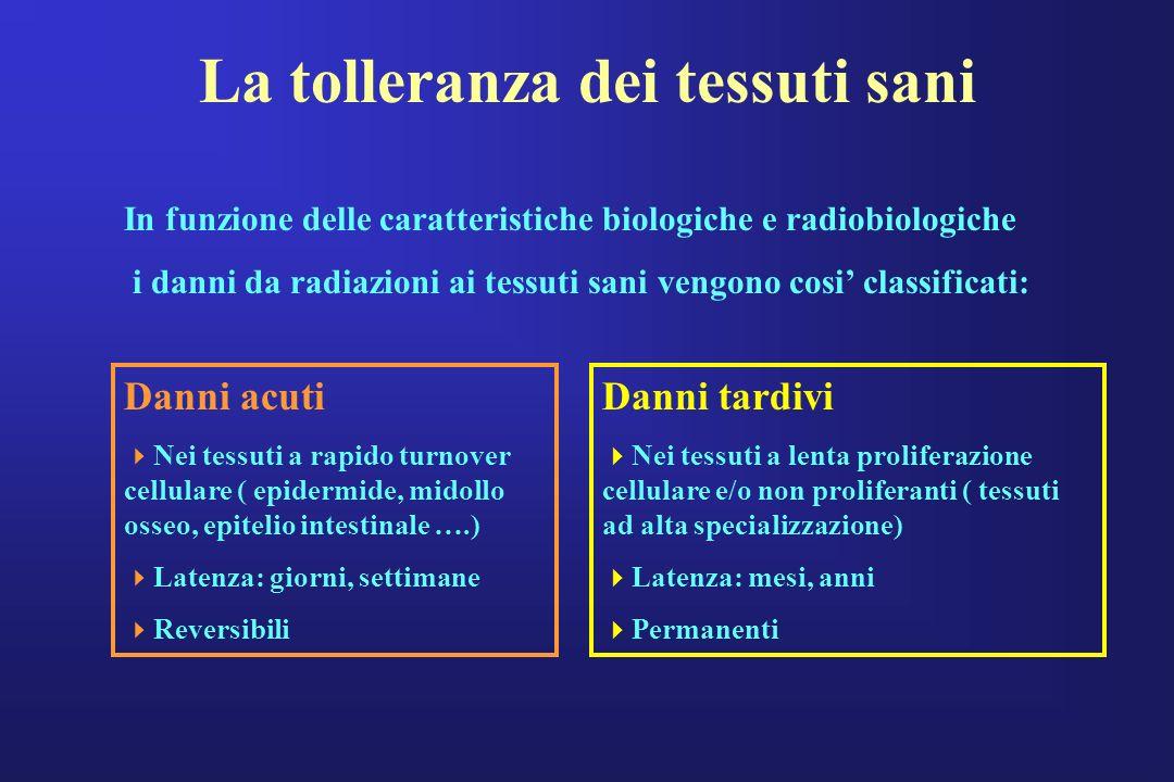 La tolleranza dei tessuti sani In funzione delle caratteristiche biologiche e radiobiologiche i danni da radiazioni ai tessuti sani vengono cosi class