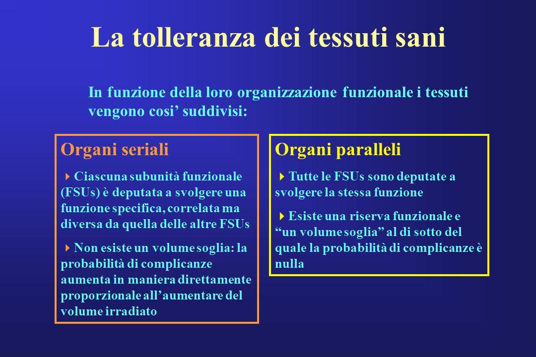 La tolleranza dei tessuti sani In funzione della loro organizzazione funzionale i tessuti vengono cosi suddivisi: Organi seriali Ciascuna subunità fun