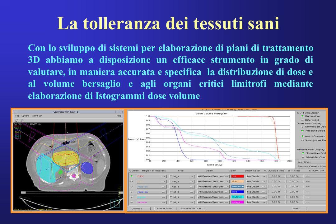 La tolleranza dei tessuti sani Con lo sviluppo di sistemi per elaborazione di piani di trattamento 3D abbiamo a disposizione un efficace strumento in