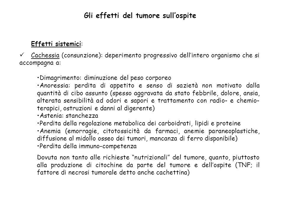 Effetti sistemici: Cachessia (consunzione): deperimento progressivo dellintero organismo che si accompagna a: Dimagrimento: diminuzione del peso corpo