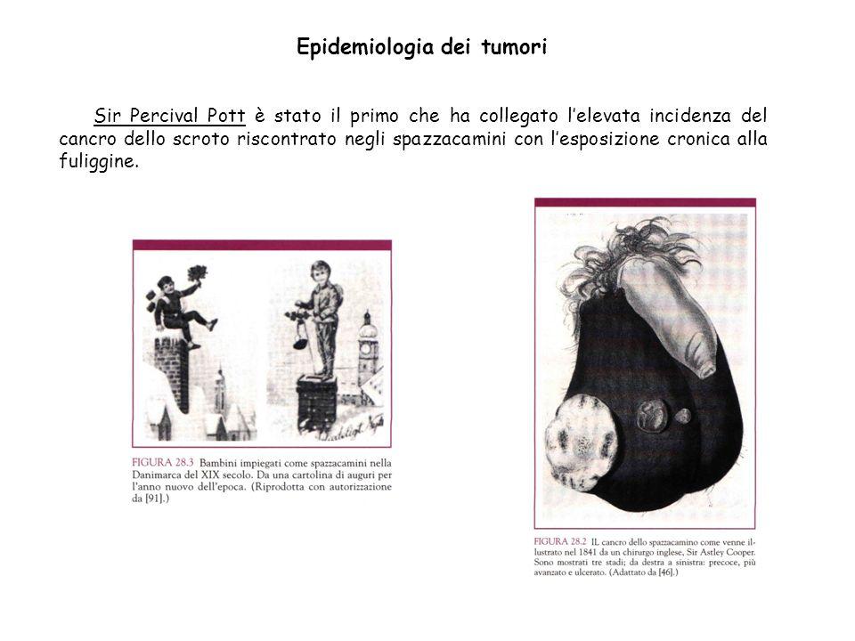 Sir Percival Pott è stato il primo che ha collegato lelevata incidenza del cancro dello scroto riscontrato negli spazzacamini con lesposizione cronica