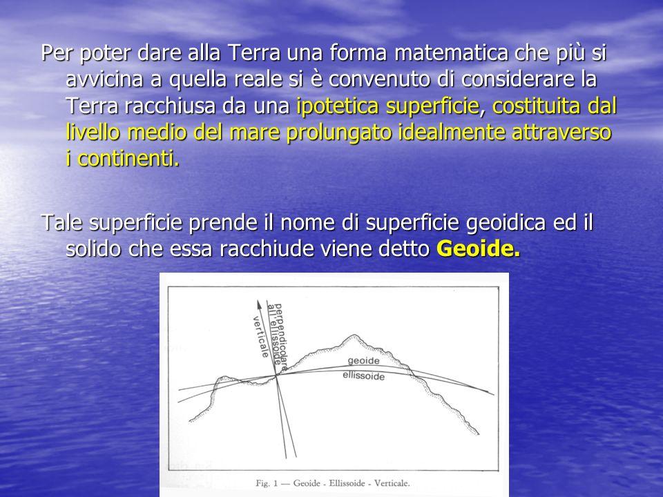 Il Geoide si discosta poco dalla vera forma della Terra, e gode delle seguenti proprietà: La sua superficie è equipotenziale rispetto alla gravità ed è convessa in ogni suo punto; La sua superficie è equipotenziale rispetto alla gravità ed è convessa in ogni suo punto; In ogni punto della superficie geoidica la normale e la verticale coincidono; In ogni punto della superficie geoidica la normale e la verticale coincidono; Ad ogni punto della superficie geoidica corrisponde una sola verticale.