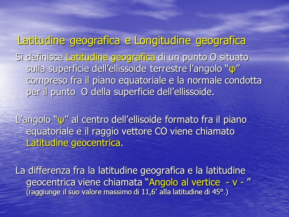 Si definisce latitudine di un punto A lampiezza dellarco di meridiano compreso fra lequatore e il punto considerato.