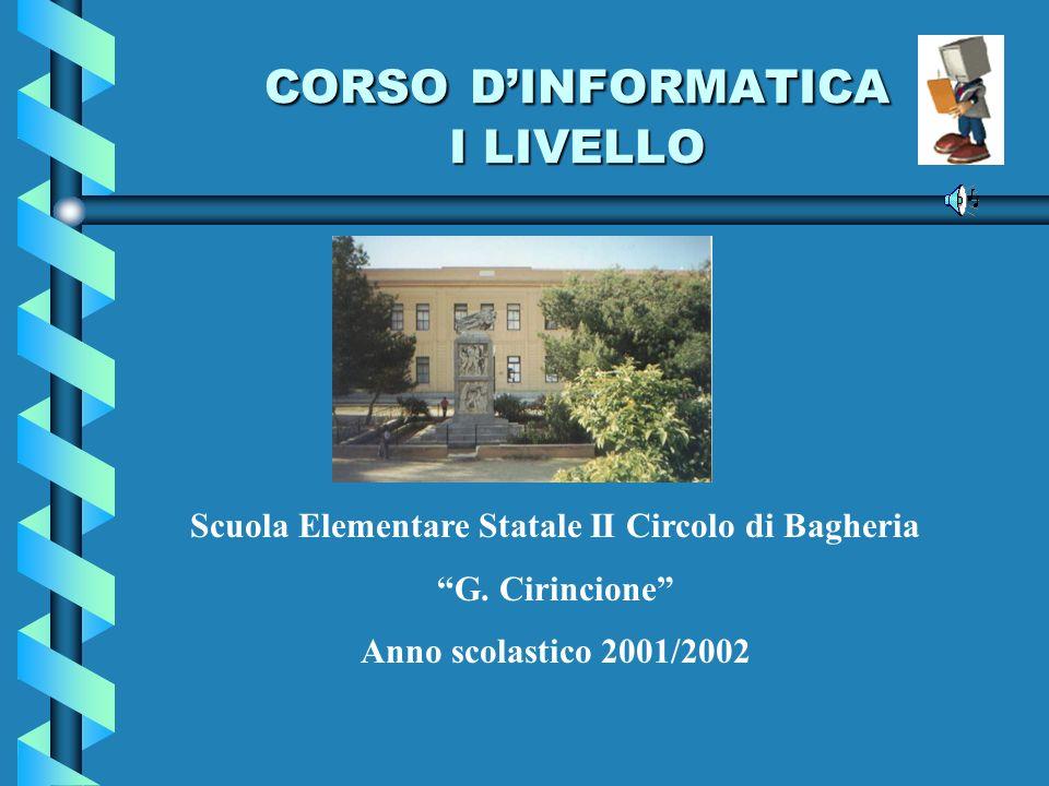 CORSO DINFORMATICA I LIVELLO Scuola Elementare Statale II Circolo di Bagheria G. Cirincione Anno scolastico 2001/2002