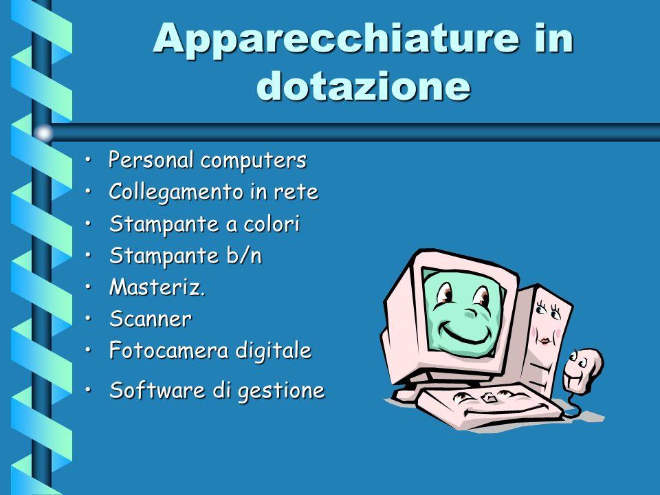 Apparecchiature in dotazione Personal computersPersonal computers Collegamento in reteCollegamento in rete Stampante a coloriStampante a colori Stampa