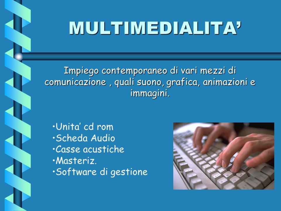 Unita cd rom Scheda Audio Casse acustiche Masteriz. Software di gestione Impiego contemporaneo di vari mezzi di comunicazione, quali suono, grafica, a