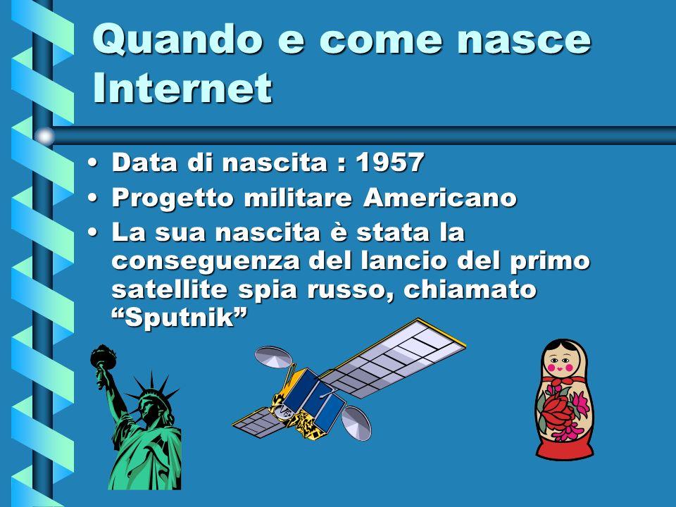 Quando e come nasce Internet Data di nascita : 1957Data di nascita : 1957 Progetto militare AmericanoProgetto militare Americano La sua nascita è stat