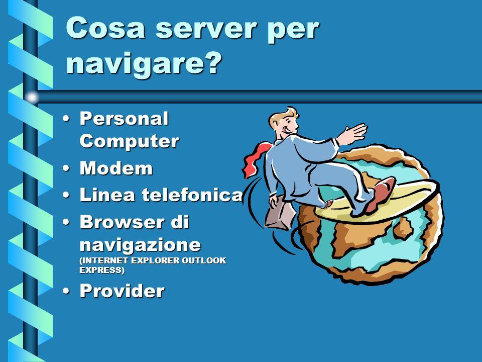 Cosa server per navigare? Personal ComputerPersonal Computer ModemModem Linea telefonicaLinea telefonica Browser di navigazione (INTERNET EXPLORER OUT