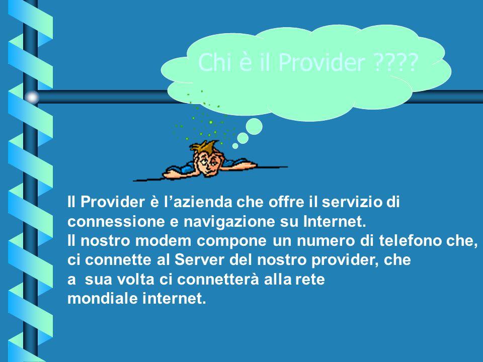 Il Provider è lazienda che offre il servizio di connessione e navigazione su Internet. Il nostro modem compone un numero di telefono che, ci connette