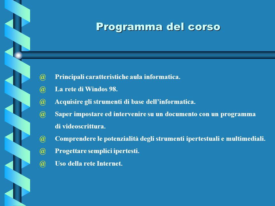 Programma del corso @ Principali caratteristiche aula informatica. @ La rete di Windos 98. @ Acquisire gli strumenti di base dellinformatica. @ Saper