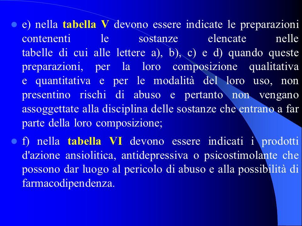 e) nella tabella V devono essere indicate le preparazioni contenenti le sostanze elencate nelle tabelle di cui alle lettere a), b), c) e d) quando que