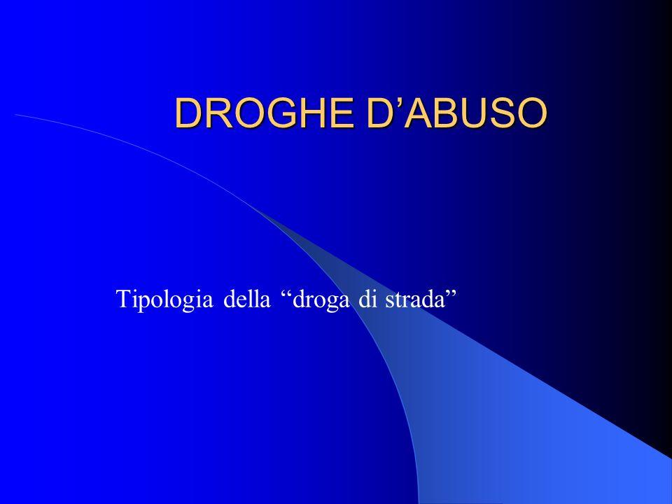 DROGHE DABUSO Tipologia della droga di strada