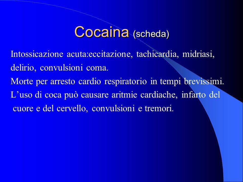 Cocaina (scheda) Intossicazione acuta:eccitazione, tachicardia, midriasi, delirio, convulsioni coma. Morte per arresto cardio respiratorio in tempi br
