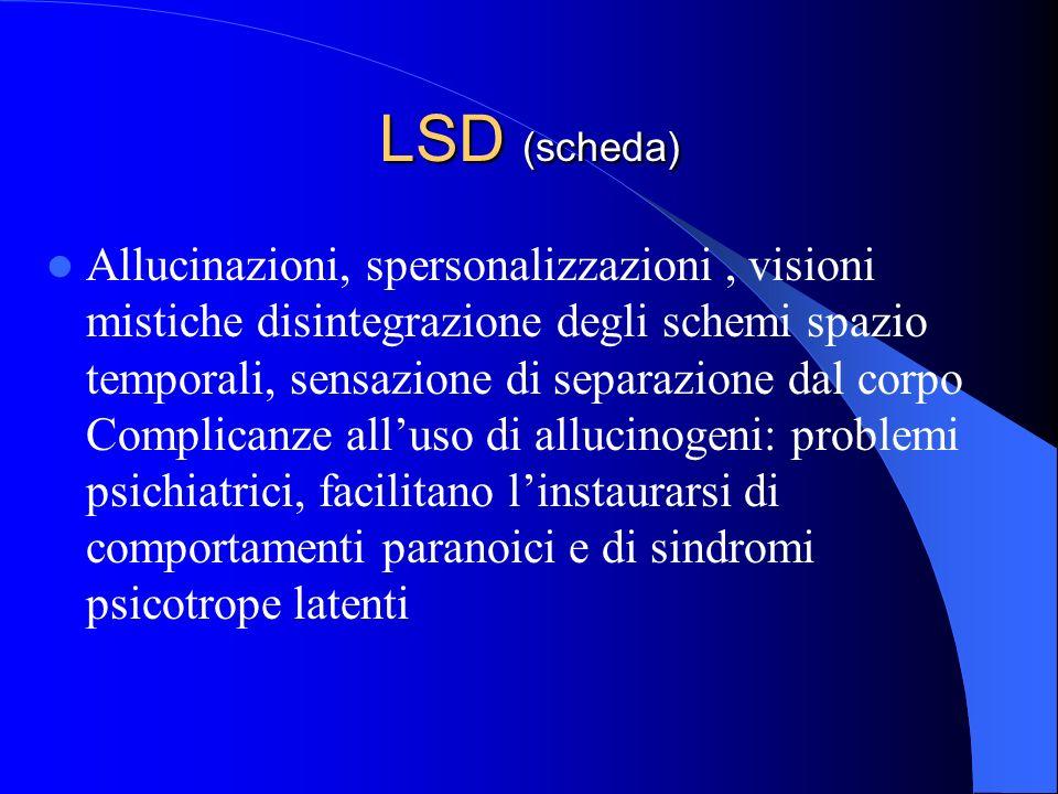 LSD (scheda) Allucinazioni, spersonalizzazioni, visioni mistiche disintegrazione degli schemi spazio temporali, sensazione di separazione dal corpo Co