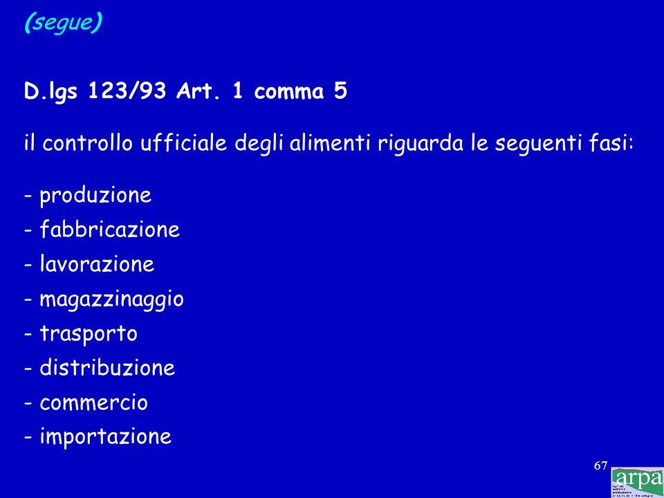 66 (segue) D.P.R. 327/80 Art. 3 comma 1 num. 1,2,3 Le Autorità sanitarie competenti per il controllo ufficiale degli alimenti sono: - il Ministero del