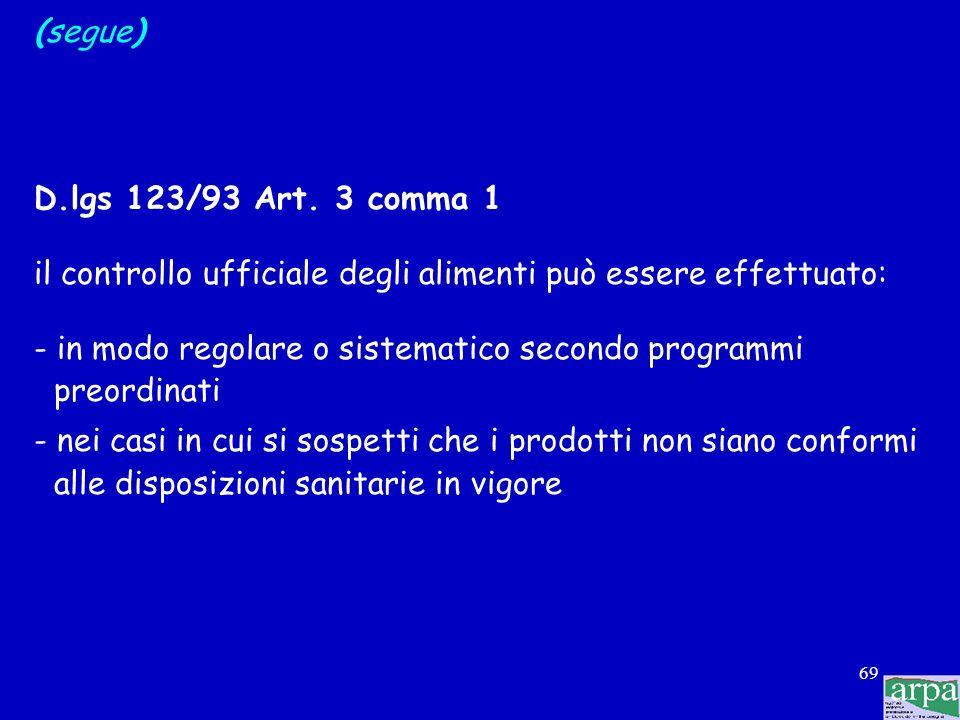 68 (segue) D.lgs 123/93 Art. 1 comma 3 il controllo ufficiale degli alimenti si compie nelle seguenti operazioni: - ispezione -PRELIEVO DEI CAMPIONI -