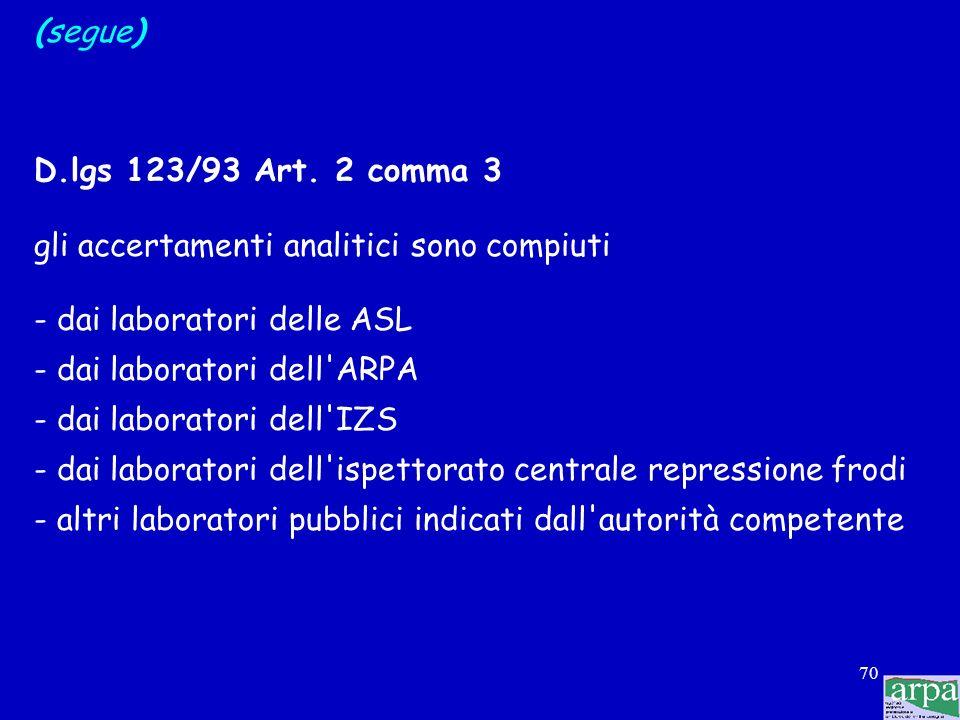 69 (segue) D.lgs 123/93 Art. 3 comma 1 il controllo ufficiale degli alimenti può essere effettuato: - in modo regolare o sistematico secondo programmi
