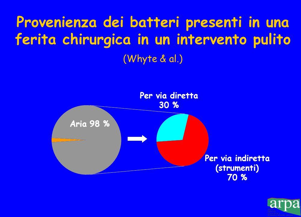 Provenienza dei batteri presenti in una ferita chirurgica in un intervento pulito (Whyte & al.) Aria 98 % Per via diretta 30 % Per via indiretta (strumenti) 70 %