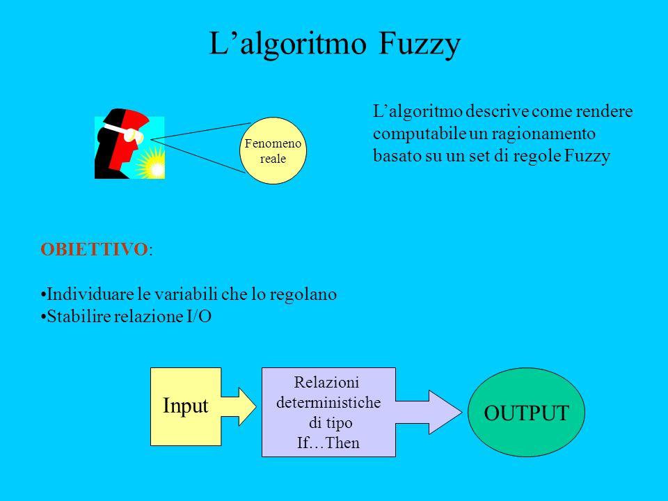 Fenomeno reale Lalgoritmo descrive come rendere computabile un ragionamento basato su un set di regole Fuzzy OBIETTIVO: Individuare le variabili che lo regolano Stabilire relazione I/O Input Relazioni deterministiche di tipo If…Then OUTPUT Lalgoritmo Fuzzy