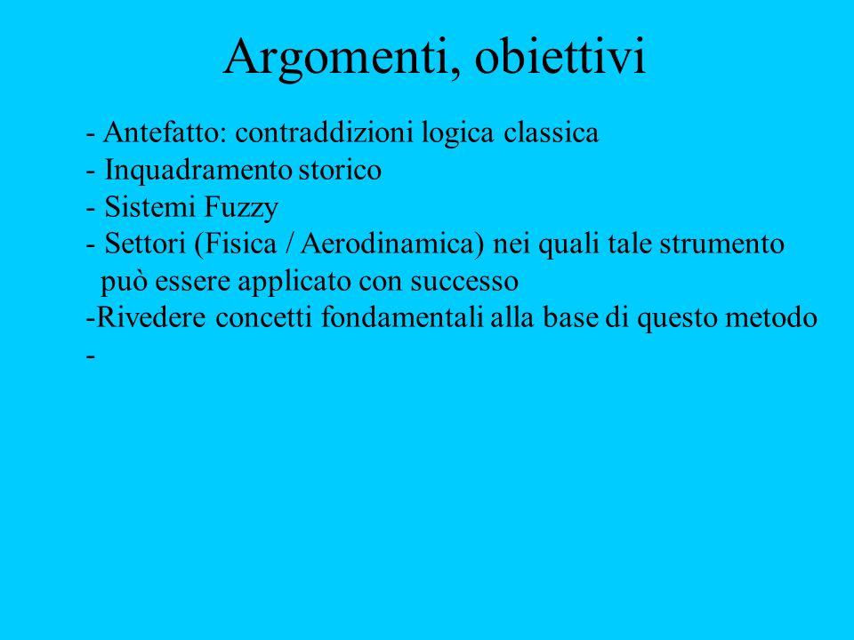 Argomenti, obiettivi - Antefatto: contraddizioni logica classica - Inquadramento storico - Sistemi Fuzzy - Settori (Fisica / Aerodinamica) nei quali tale strumento può essere applicato con successo -Rivedere concetti fondamentali alla base di questo metodo -