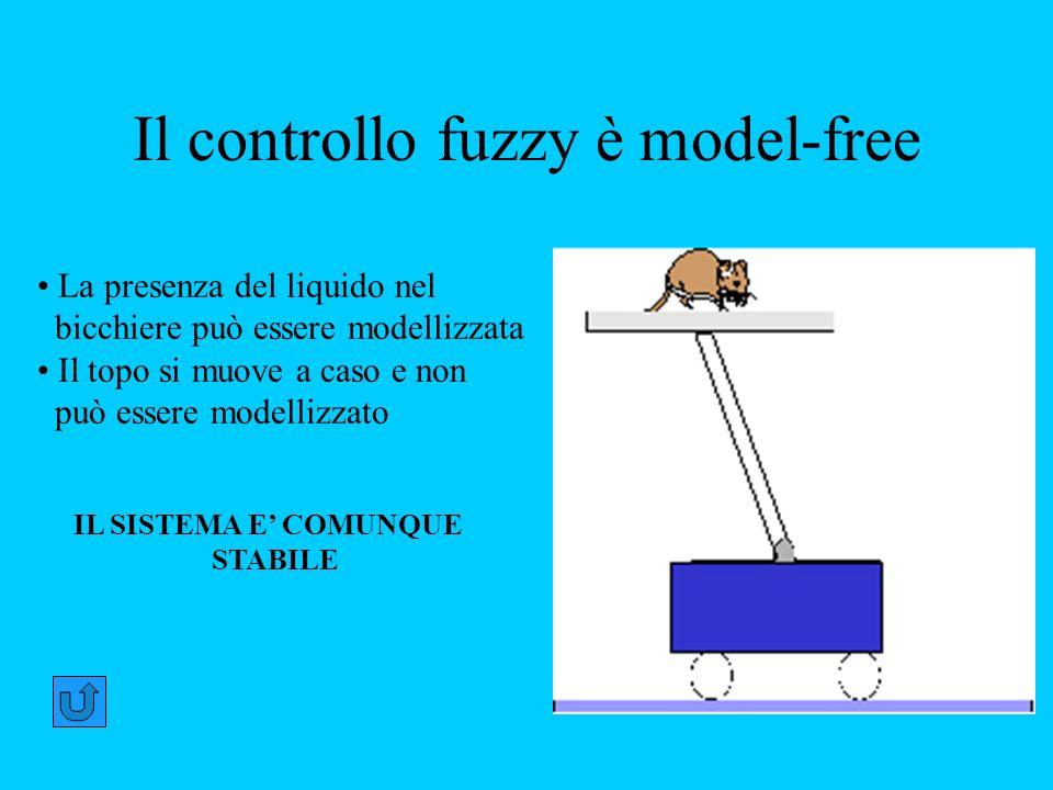 Il controllo fuzzy è model-free La presenza del liquido nel bicchiere può essere modellizzata Il topo si muove a caso e non può essere modellizzato IL SISTEMA E COMUNQUE STABILE