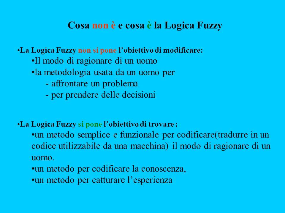 La Logica Fuzzy non si pone lobiettivo di modificare: Il modo di ragionare di un uomo la metodologia usata da un uomo per - affrontare un problema - p