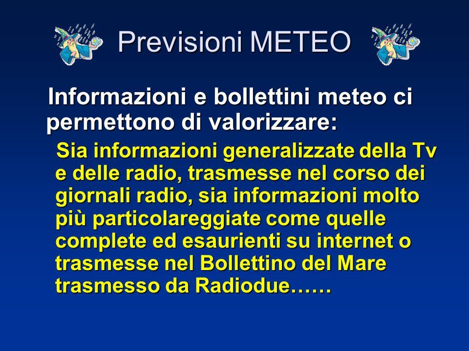 Informazioni e bollettini meteo ci vengono forniti da: Informazioni e bollettini meteo ci vengono forniti da: –Tv, –televideo, –radio, –giornali, –tel