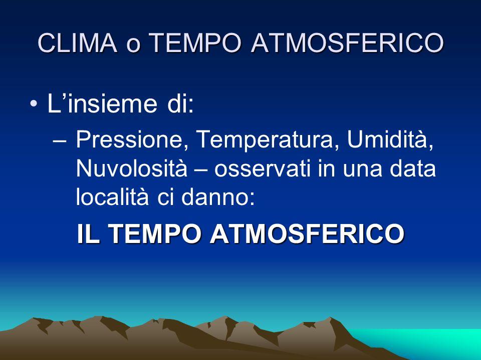 CLIMA o TEMPO ATMOSFERICO Linsieme di: –Pressione, Temperatura, Umidità, Nuvolosità – osservati in una data località ci danno: IL TEMPO ATMOSFERICO