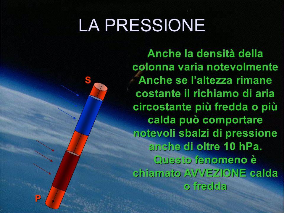LA PRESSIONE Laltezza della colonna varia notevolmente Se è composta daria calda meno densa si dilata verso lalto occupando volumi notevolmente maggio