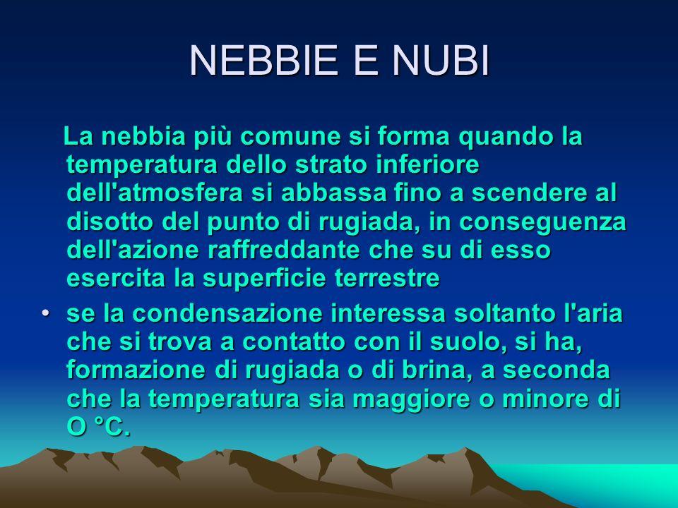 NEBBIE E NUBI Le principali forme di condensazione del vapore d'acqua che si verificano nell'atmosfera, quando la temperatura scende al disotto del pu