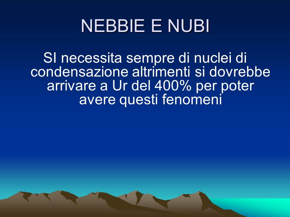 NEBBIE E NUBI La nebbia più comune si forma quando la temperatura dello strato inferiore dell'atmosfera si abbassa fino a scendere al disotto del punt