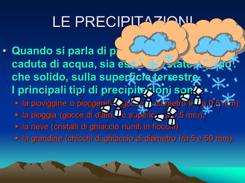 NEBBIE E NUBI SI necessita sempre di nuclei di condensazione altrimenti si dovrebbe arrivare a Ur del 400% per poter avere questi fenomeni