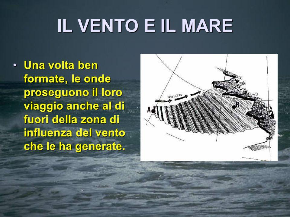 IL VENTO E IL MARE Il vento solleva, sulla superficie del mare supposto calmo, una serie di onde che si propagano nella direzione del vento stesso e c