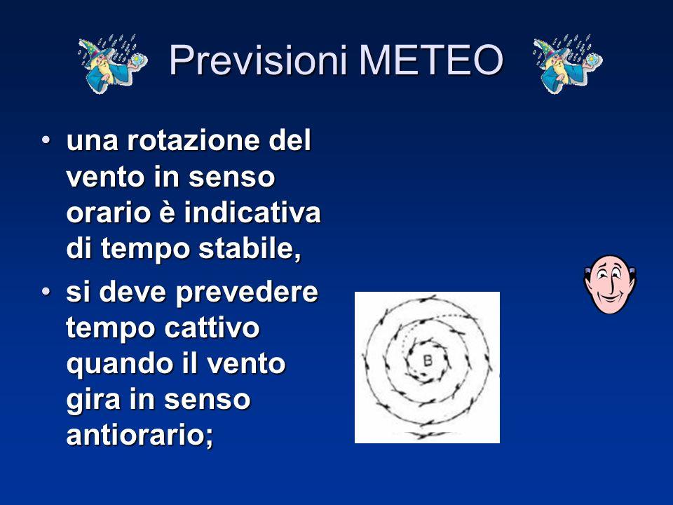 Utili elementi di riferimento per una previsione pratica del tempo si traggono dall'andamento della pressione e dal senso di rotazione del vento. Util