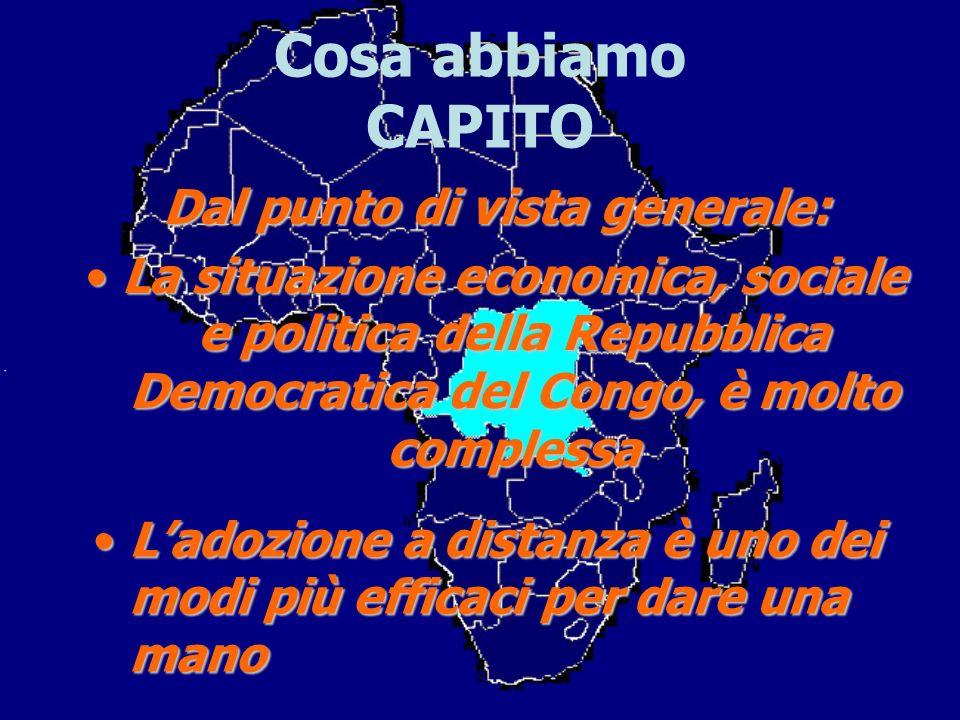 Cosa abbiamo CAPITO Dal punto di vista generale: La situazione economica, sociale e politica della Repubblica Democratica del Congo, è molto complessa
