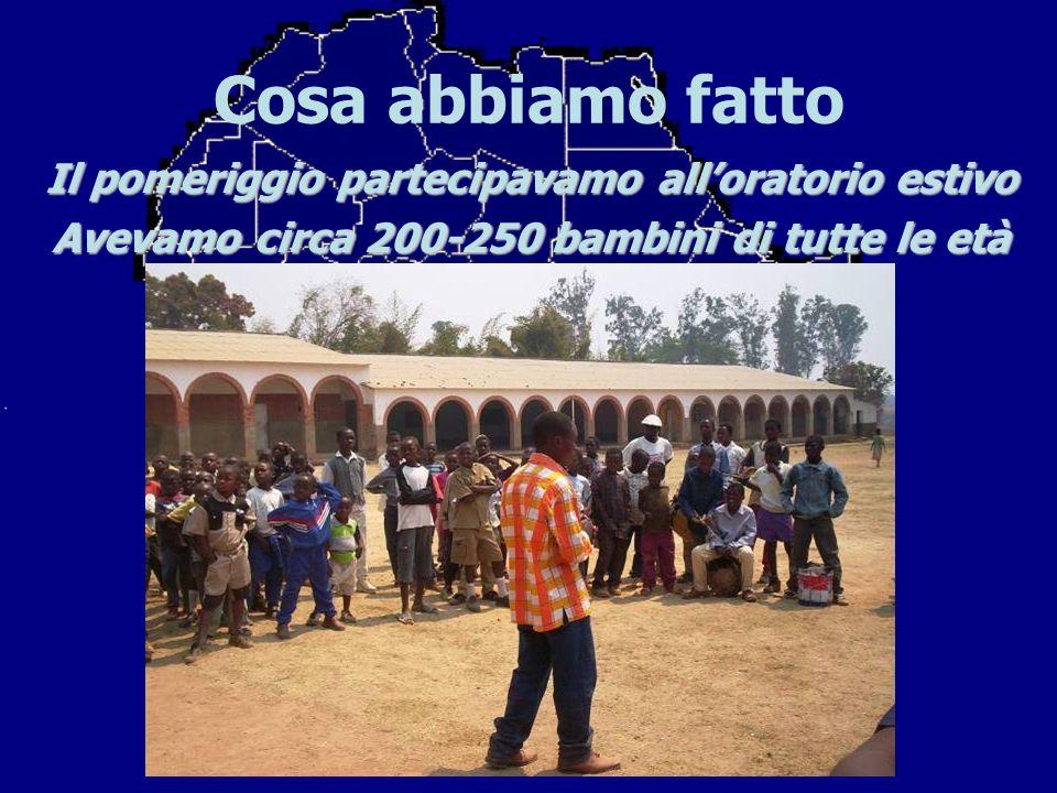 Cosa abbiamo fatto Il pomeriggio partecipavamo alloratorio estivo Avevamo circa 200-250 bambini di tutte le età