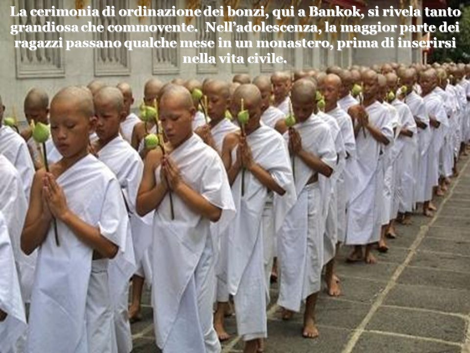 La cerimonia di ordinazione dei bonzi, qui a Bankok, si rivela tanto grandiosa che commovente.