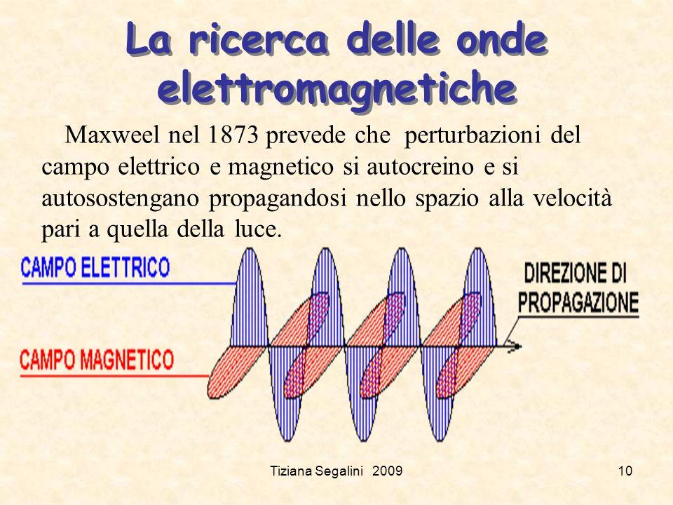Tiziana Segalini 200910 La ricerca delle onde elettromagnetiche Maxweel nel 1873 prevede che perturbazioni del campo elettrico e magnetico si autocreino e si autosostengano propagandosi nello spazio alla velocità pari a quella della luce.