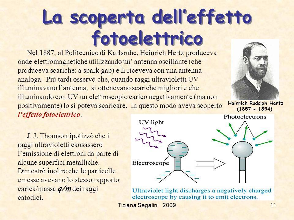 Tiziana Segalini 200911 La scoperta delleffetto fotoelettrico Heinrich Rudolph Hertz (1857 - 1894) Nel 1887, al Politecnico di Karlsruhe, Heinrich Hertz produceva onde elettromagnetiche utilizzando un antenna oscillante (che produceva scariche: a spark gap) e li riceveva con una antenna analoga.