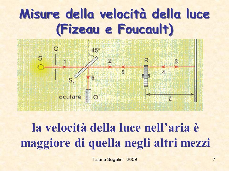 Misure della velocità della luce (Fizeau e Foucault) Tiziana Segalini 20097 la velocità della luce nellaria è maggiore di quella negli altri mezzi