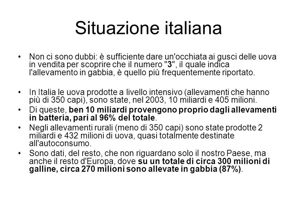 Situazione italiana Non ci sono dubbi: è sufficiente dare un'occhiata ai gusci delle uova in vendita per scoprire che il numero