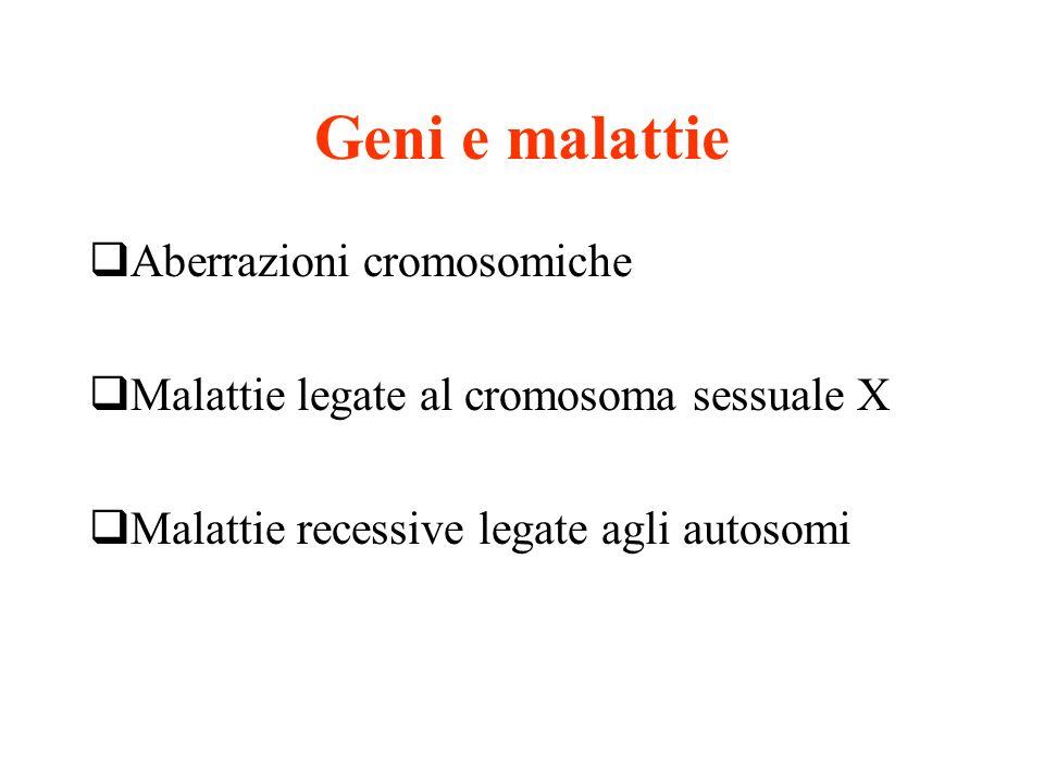 Geni e malattie Aberrazioni cromosomiche Malattie legate al cromosoma sessuale X Malattie recessive legate agli autosomi